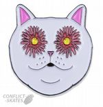 "RIPNDIP ""Flower Eyes"" Pin Badge Skateboard 1.25 inch 3cm Metal & Enamel Cat Nermal"